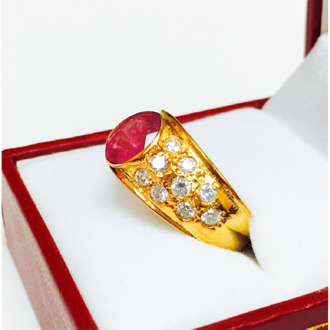 "18k Yellow Gold, ""No Heat Ruby"" and Diamond Ring - 3"