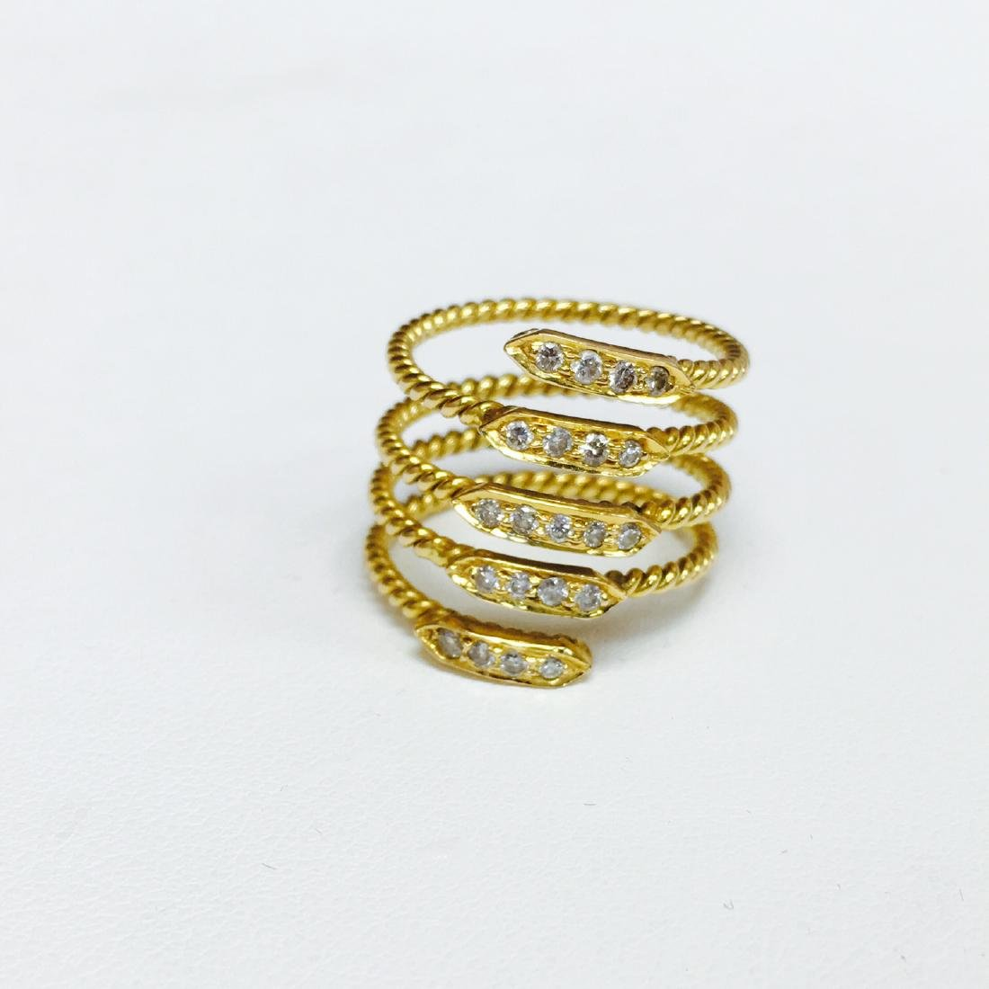 VVS Diamonds, 18K Yellow Gold Coil Design Ring