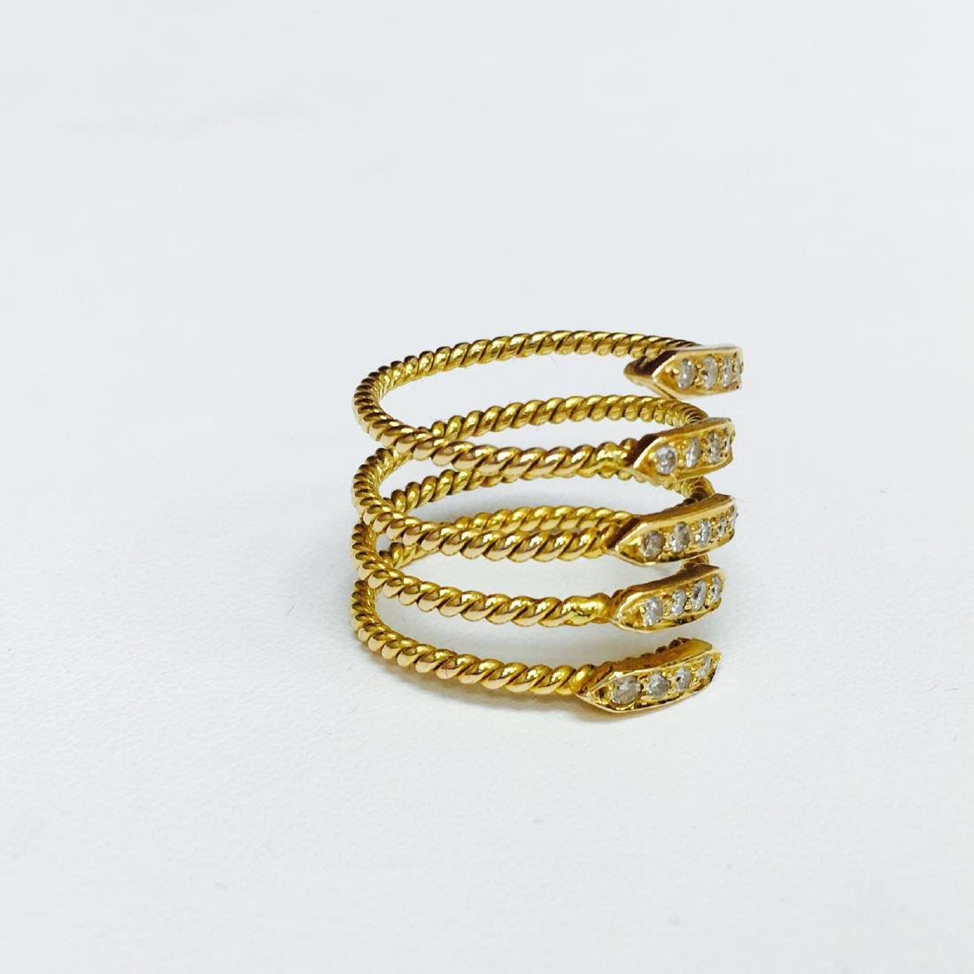 VVS Diamonds, 18K Yellow Gold Coil Design Ring - 2