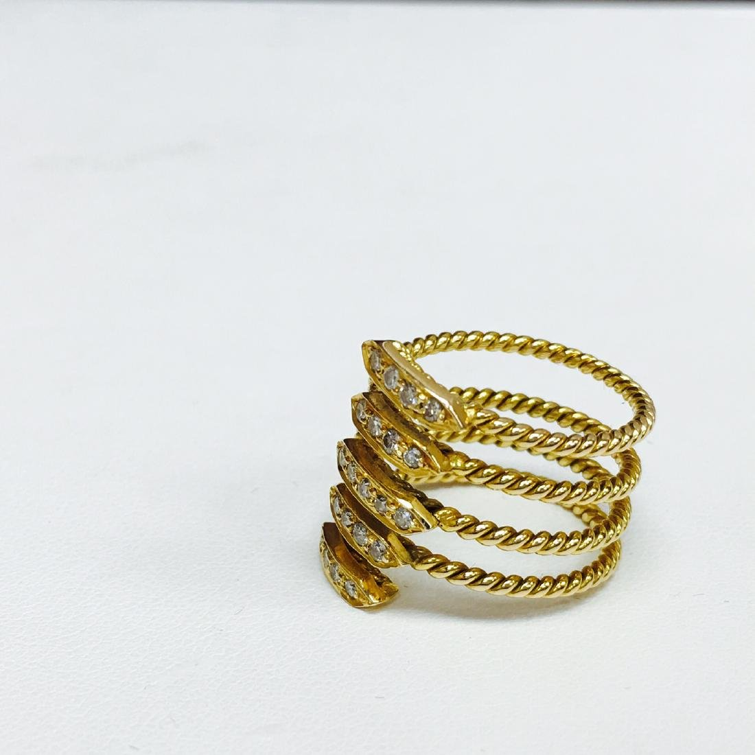 VVS Diamonds, 18K Yellow Gold Coil Design Ring - 3