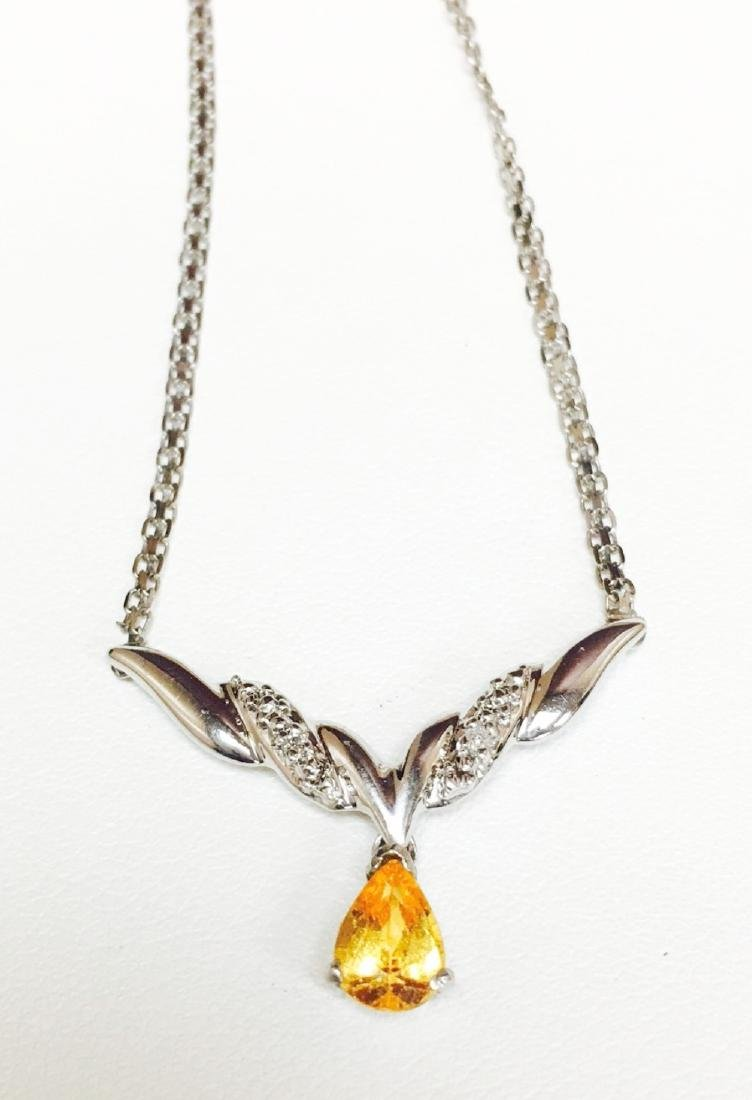 14K Gold, Yellow Sapphire and White Diamond Necklace