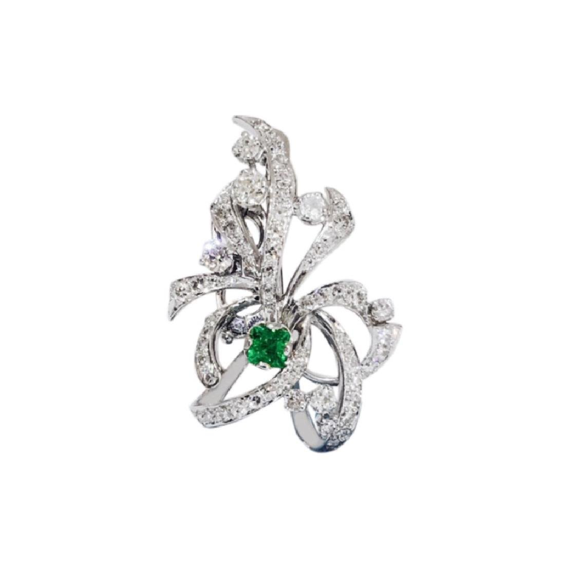 7.50 Carat VVS Diamond and Colombian Emerald Pin