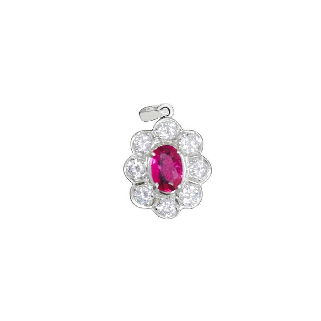 18K White Gold, No Heat Ruby and White Diamond Pendant