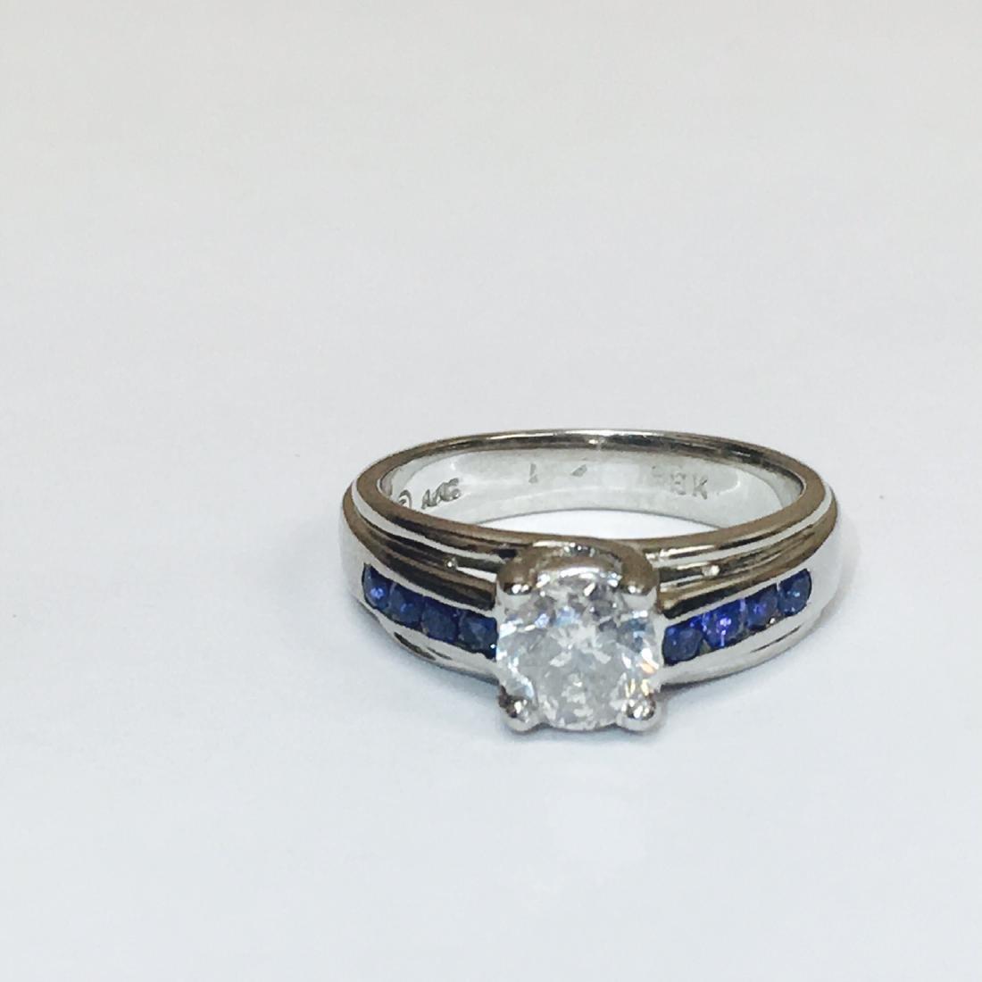 18K, 1.70 Carat Diamond and Blue Sapphire Ring