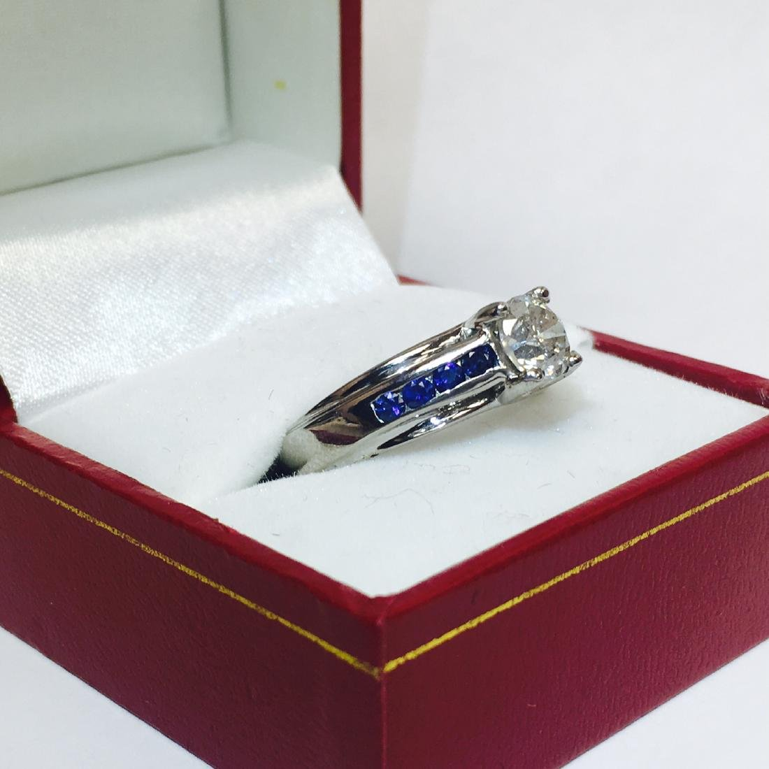 18K, 1.70 Carat Diamond and Blue Sapphire Ring - 2