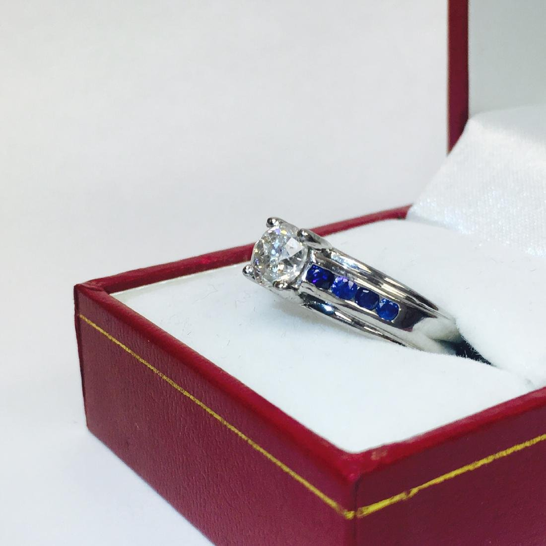 18K, 1.70 Carat Diamond and Blue Sapphire Ring - 3