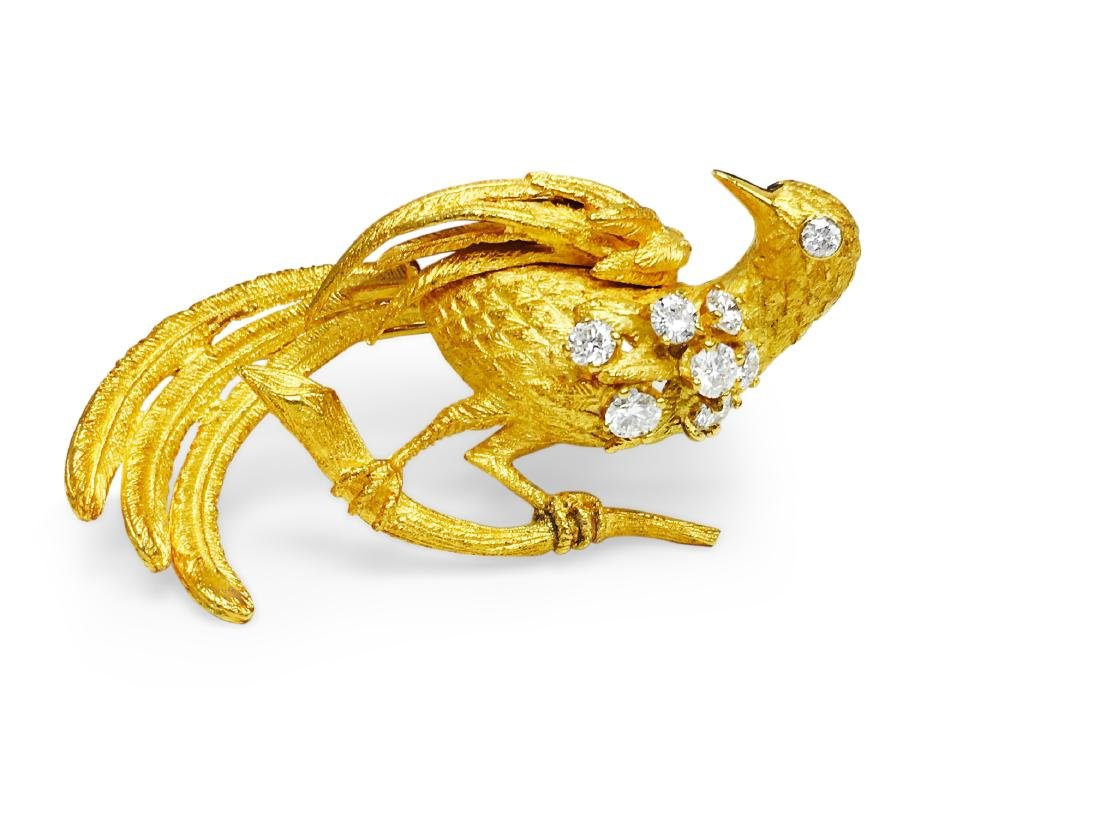 18K Yellow Gold, VVS Diamond Vintage Bird Pin - 2