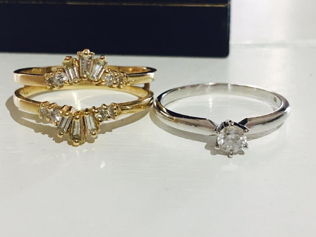14kt two tone Gold and Diamond pair rings - 4