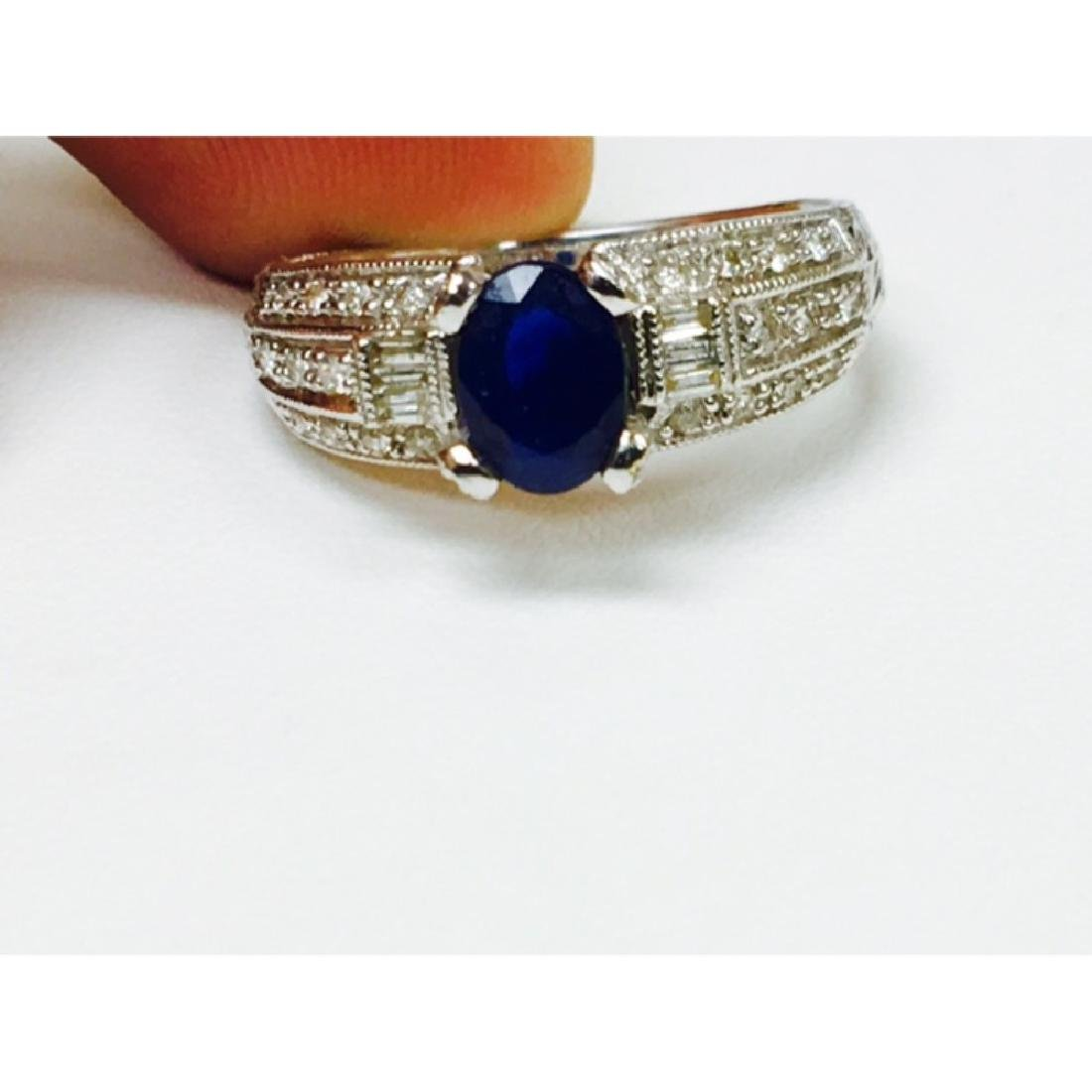 1.50 Carat Natural Blue Sapphire and Diamond Ring