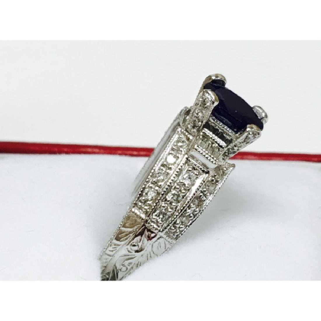1.50 Carat Natural Blue Sapphire and Diamond Ring - 2