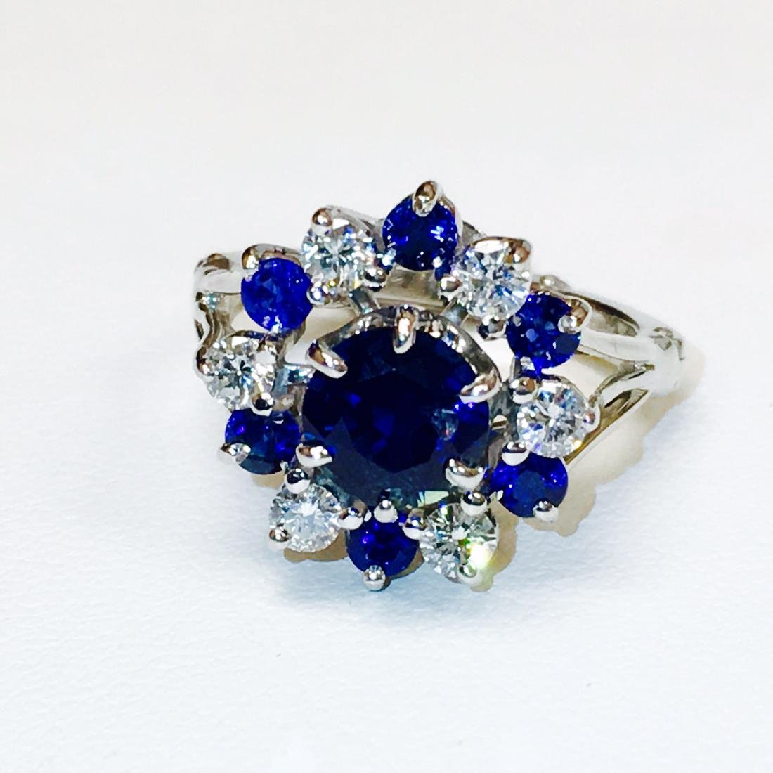 4.10 Carat Natural Blue Sapphire and Diamond Ring