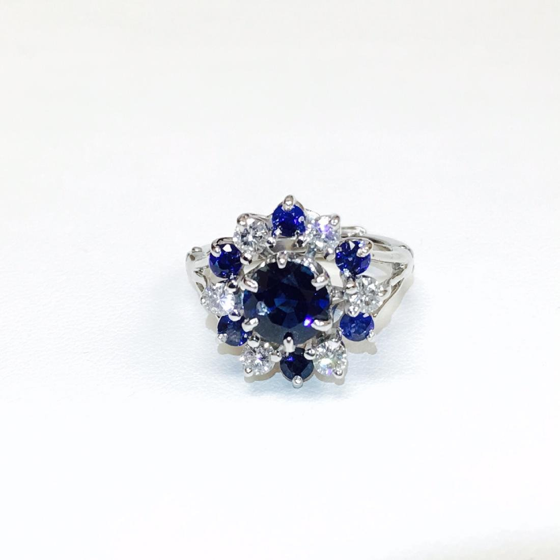 4.10 Carat Natural Blue Sapphire and Diamond Ring - 2