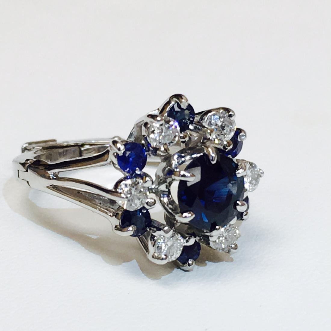 4.10 Carat Natural Blue Sapphire and Diamond Ring - 3