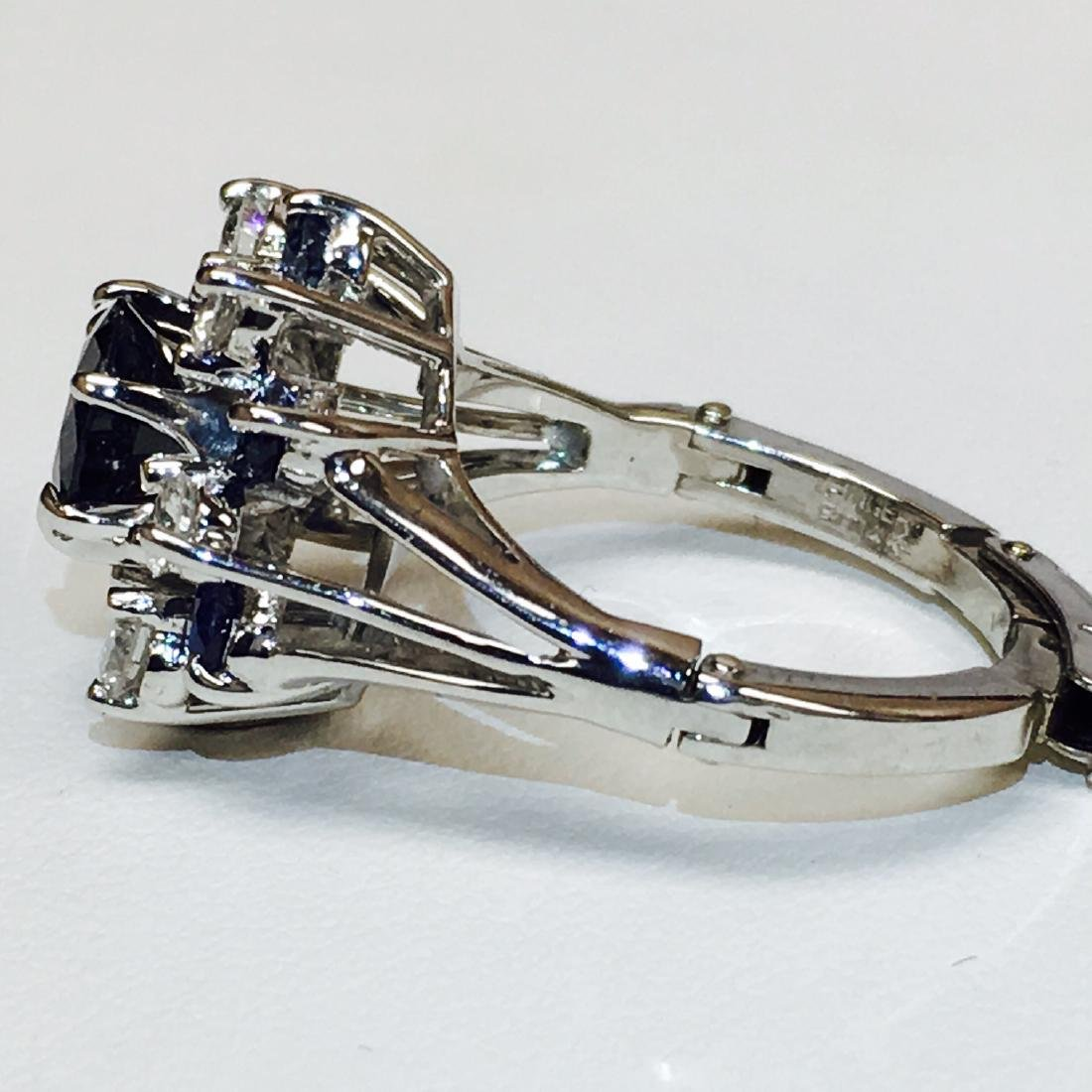4.10 Carat Natural Blue Sapphire and Diamond Ring - 4