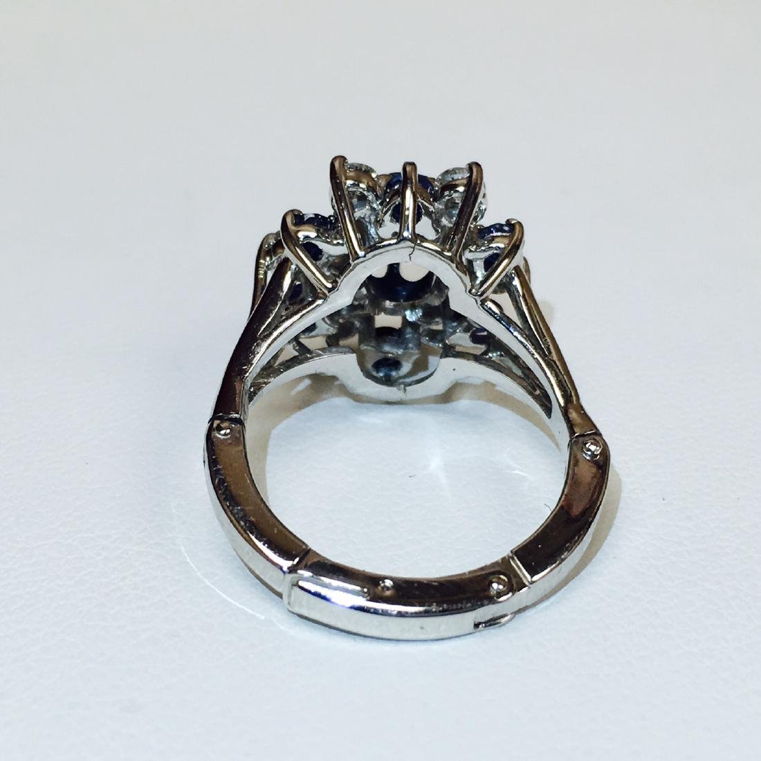 4.10 Carat Natural Blue Sapphire and Diamond Ring - 6
