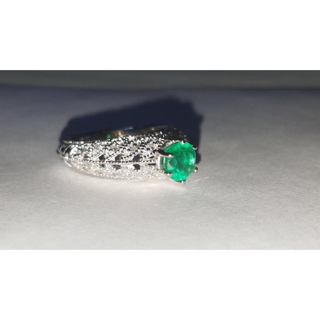 14K Gold, 3.00 Carat Diamond and Colombian Emerald Ring - 3