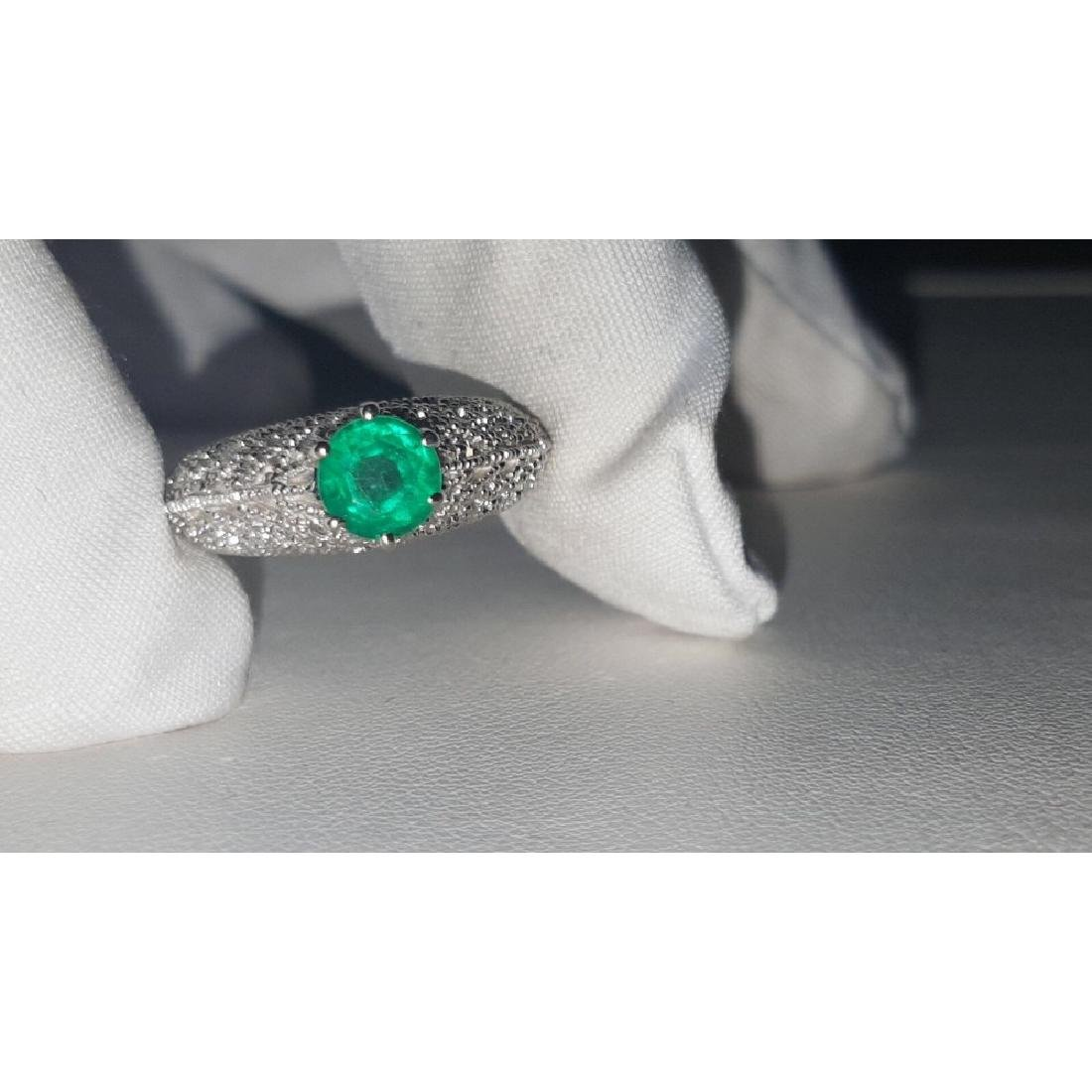 14K Gold, 3.00 Carat Diamond and Colombian Emerald Ring - 4