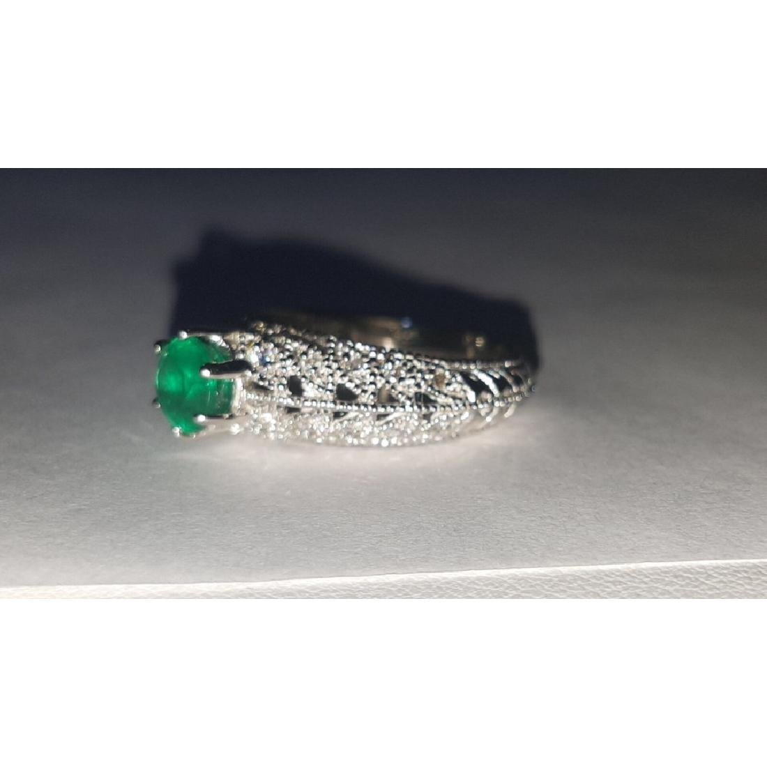 14K Gold, 3.00 Carat Diamond and Colombian Emerald Ring - 5