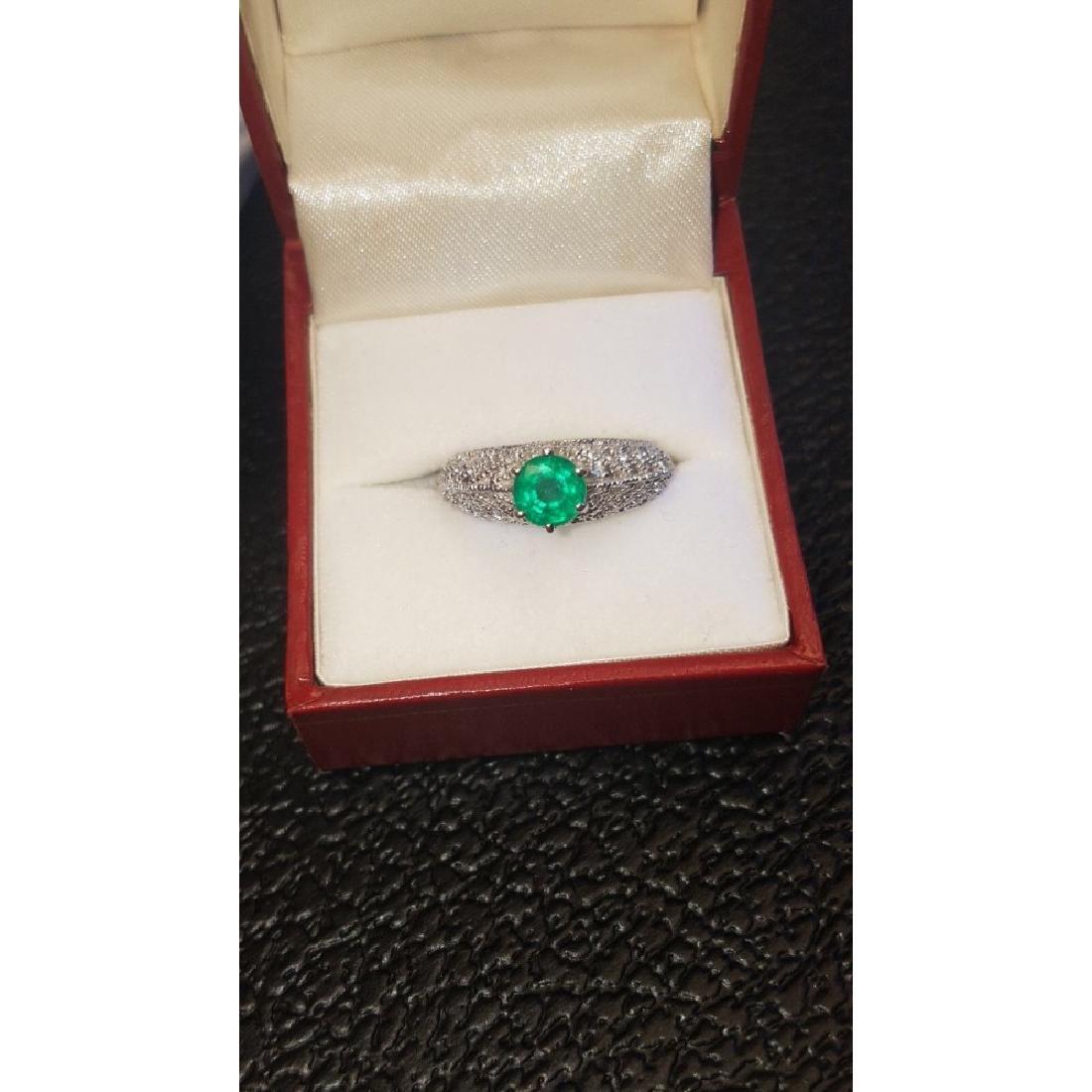 14K Gold, 3.00 Carat Diamond and Colombian Emerald Ring - 6