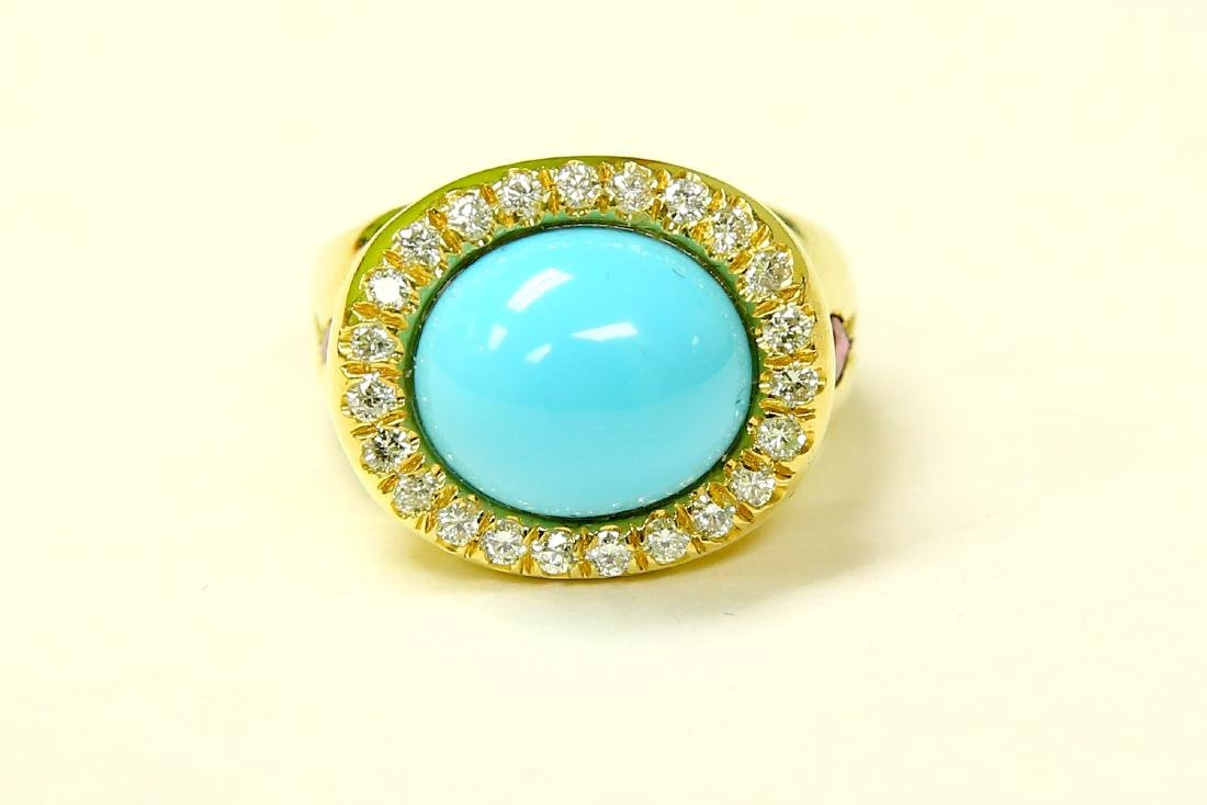 18K YELLOW GOLD. TURQUOISE, RUBY & DIAMOND RING - 3