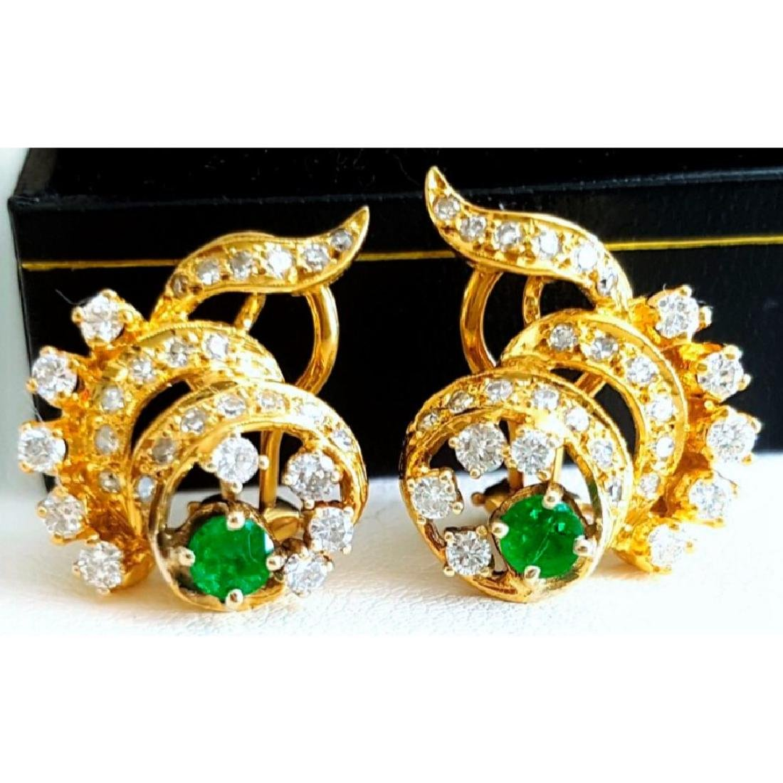14K Yellow Gold Colombian Emerald And Diamond Earring.