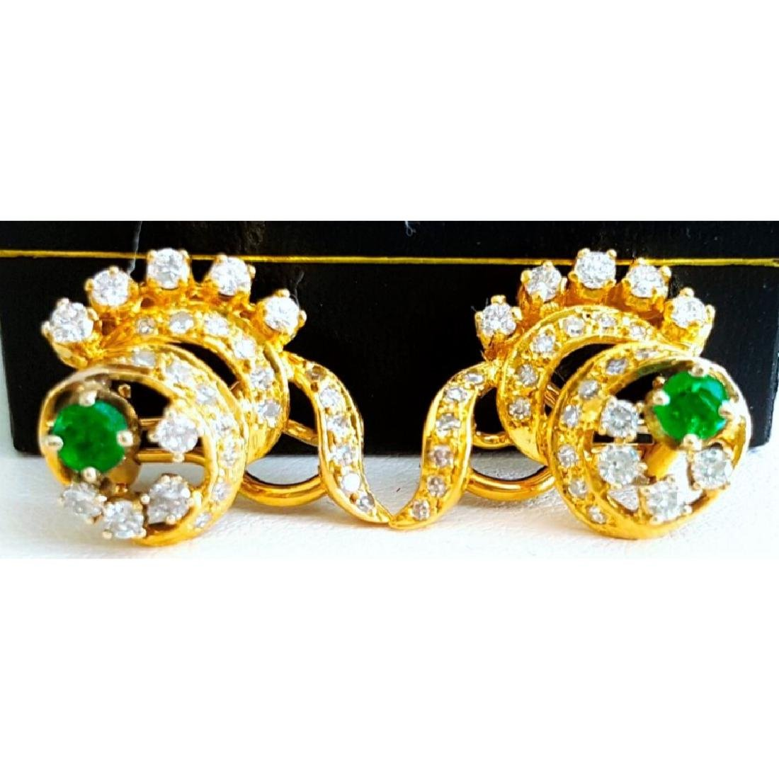 14K Yellow Gold Colombian Emerald And Diamond Earring. - 2