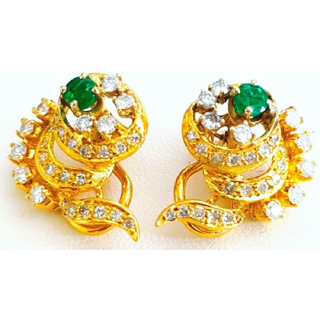 14K Yellow Gold Colombian Emerald And Diamond Earring. - 3