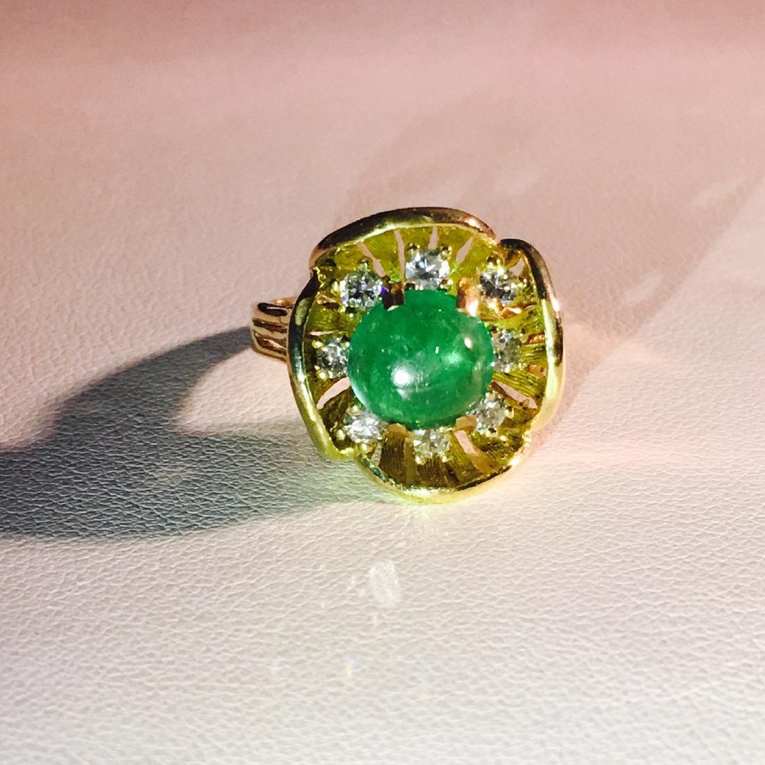 Vintage 18K Gold, 2.90 CT Diamond And Emerald Ring