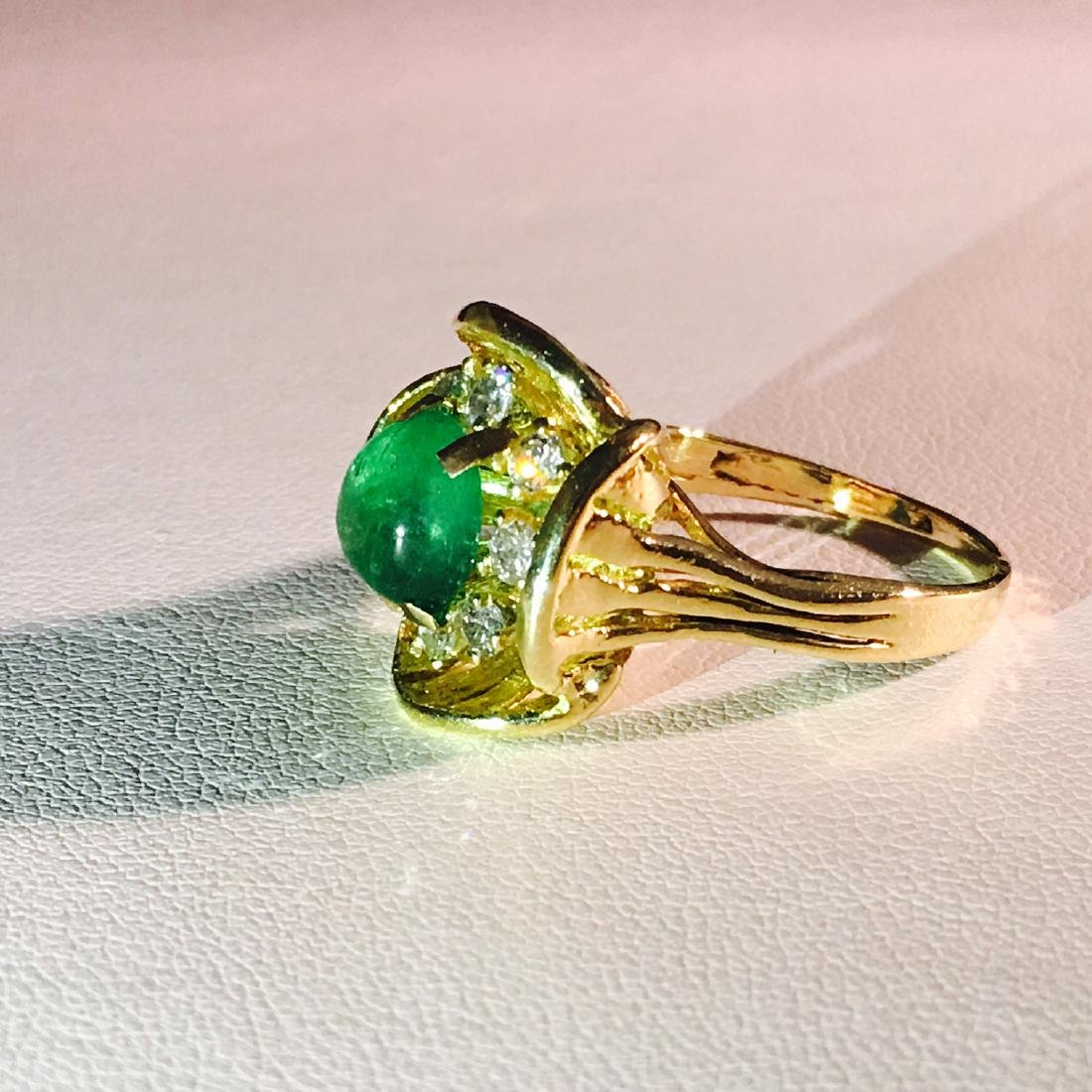 Vintage 18K Gold, 2.90 CT Diamond And Emerald Ring - 2