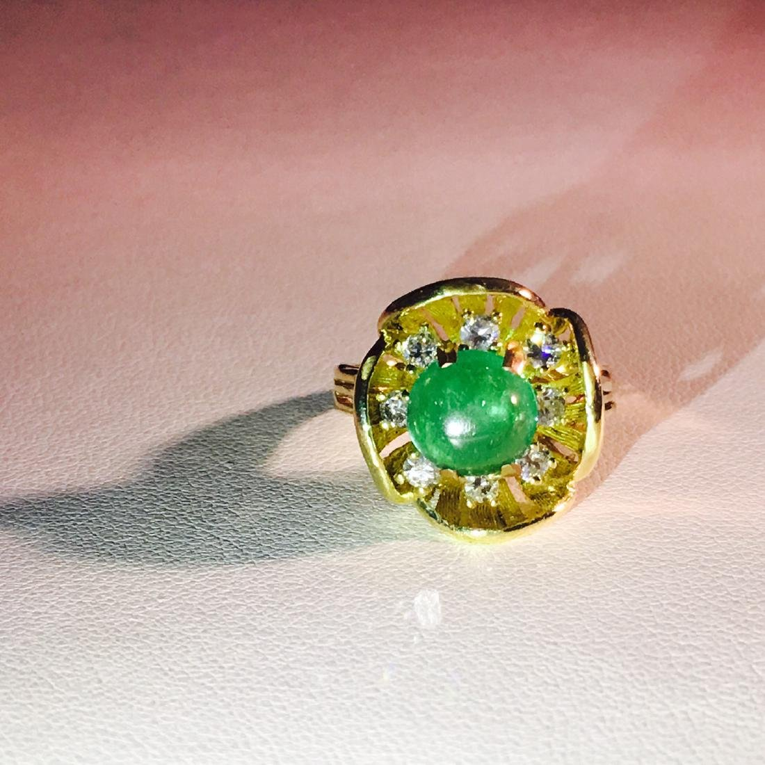 Vintage 18K Gold, 2.90 CT Diamond And Emerald Ring - 3