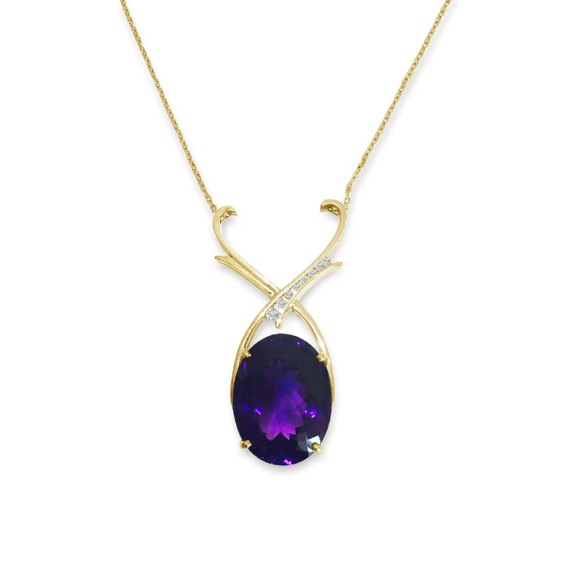 14K Gold 35 carat Amethyst & Diamond Pendant / NECKLACE