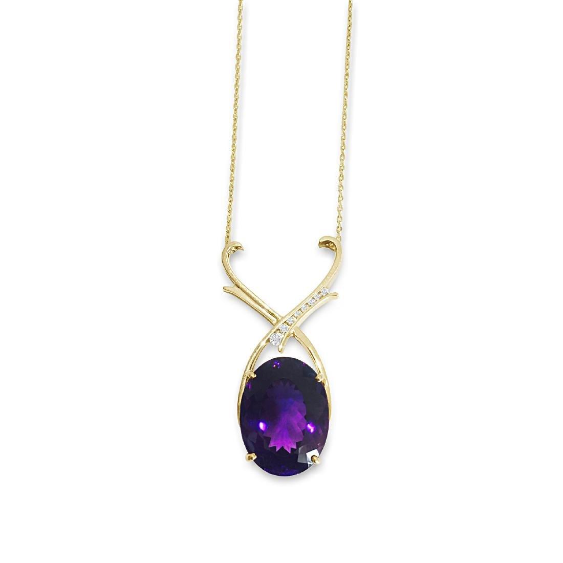14K Gold 35 carat Amethyst & Diamond Pendant / NECKLACE - 2