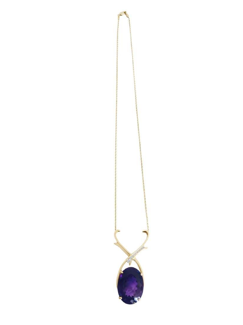 14K Gold 35 carat Amethyst & Diamond Pendant / NECKLACE - 3
