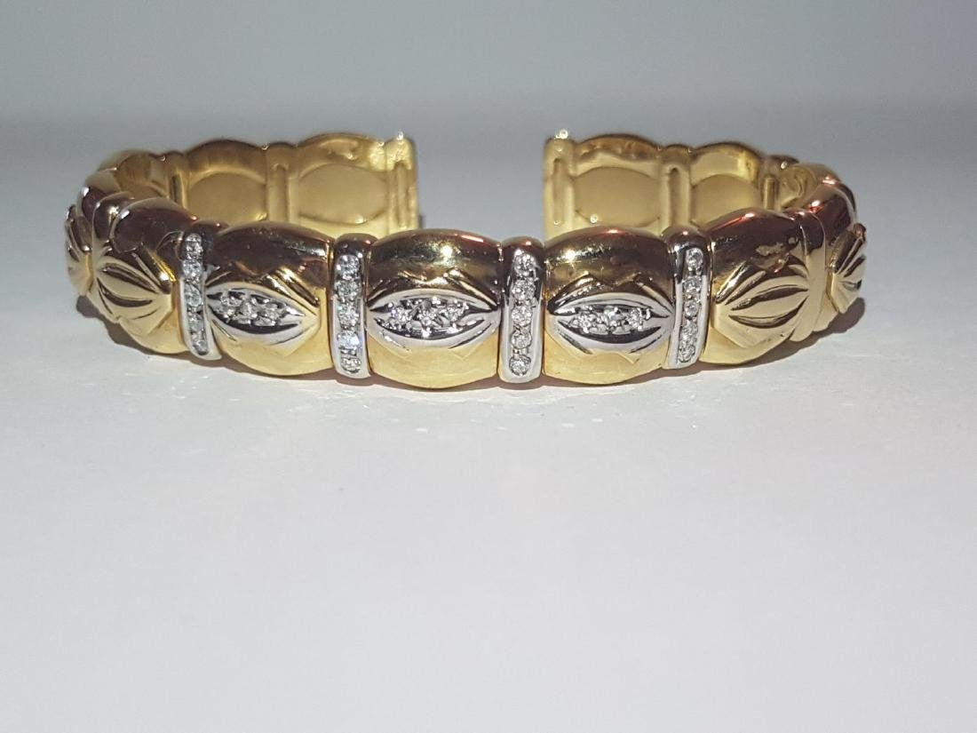 Cartier Style Bracelet, 14K Yellow Gold and Diamond