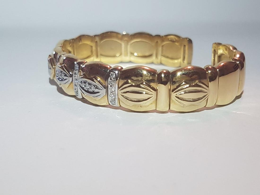 Cartier Style Bracelet, 14K Yellow Gold and Diamond - 2