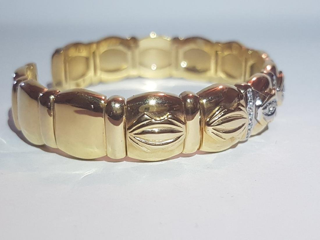 Cartier Style Bracelet, 14K Yellow Gold and Diamond - 3