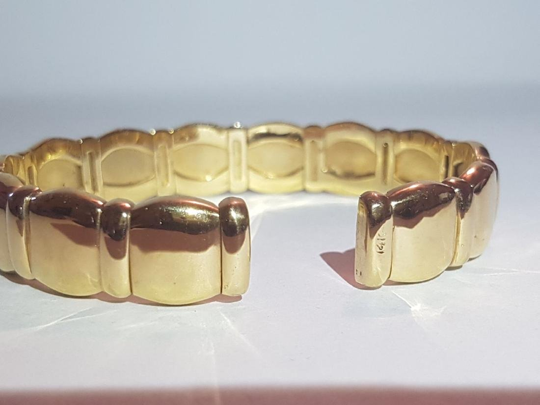 Cartier Style Bracelet, 14K Yellow Gold and Diamond - 4