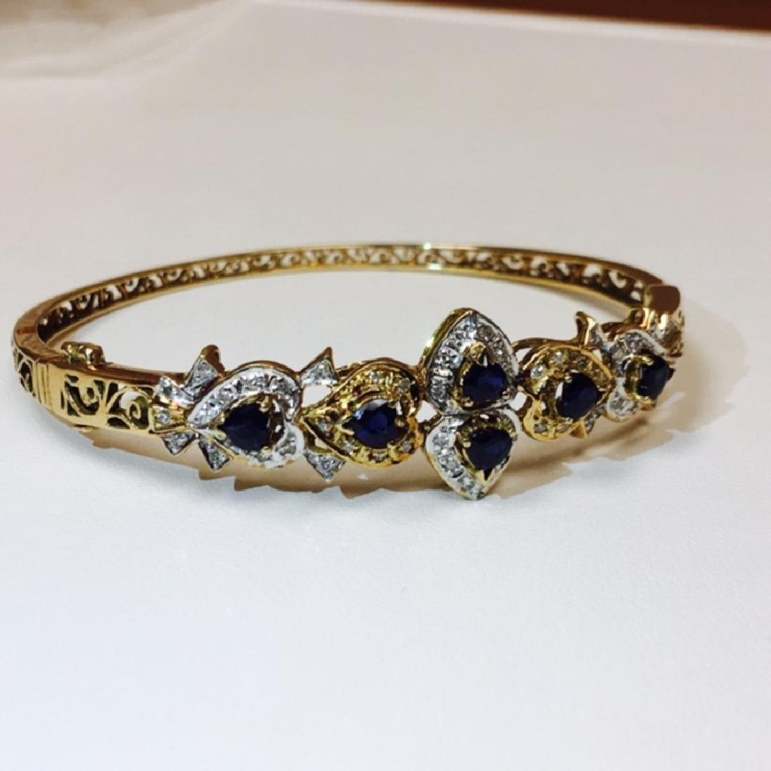 14k Gold Diamond & Blue Sapphire Bracelet / BANGLE - 2