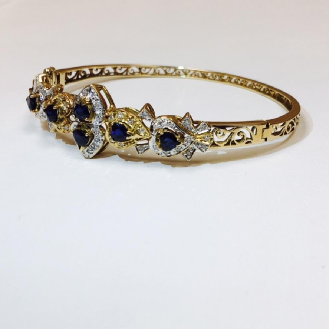 14k Gold Diamond & Blue Sapphire Bracelet / BANGLE - 6