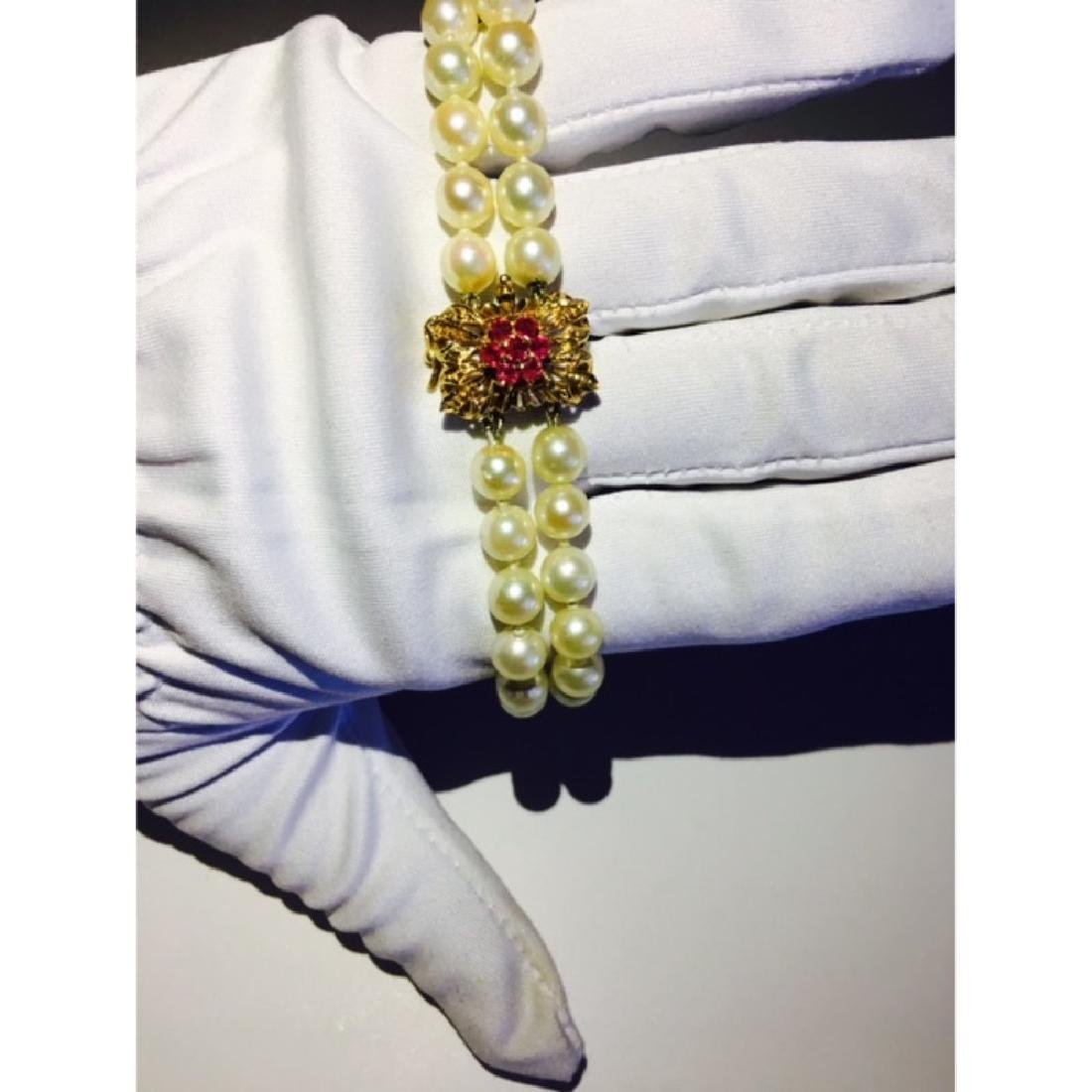 18K, Natural South Sea Pearl and Burma Ruby Bracelet - 2