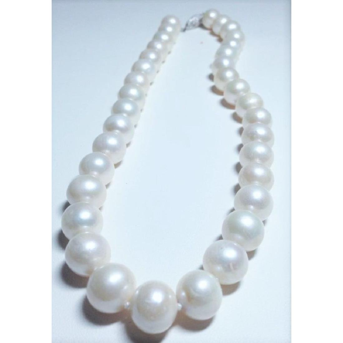14k White Gold Natural Fresh Water Pearl Necklace - 2