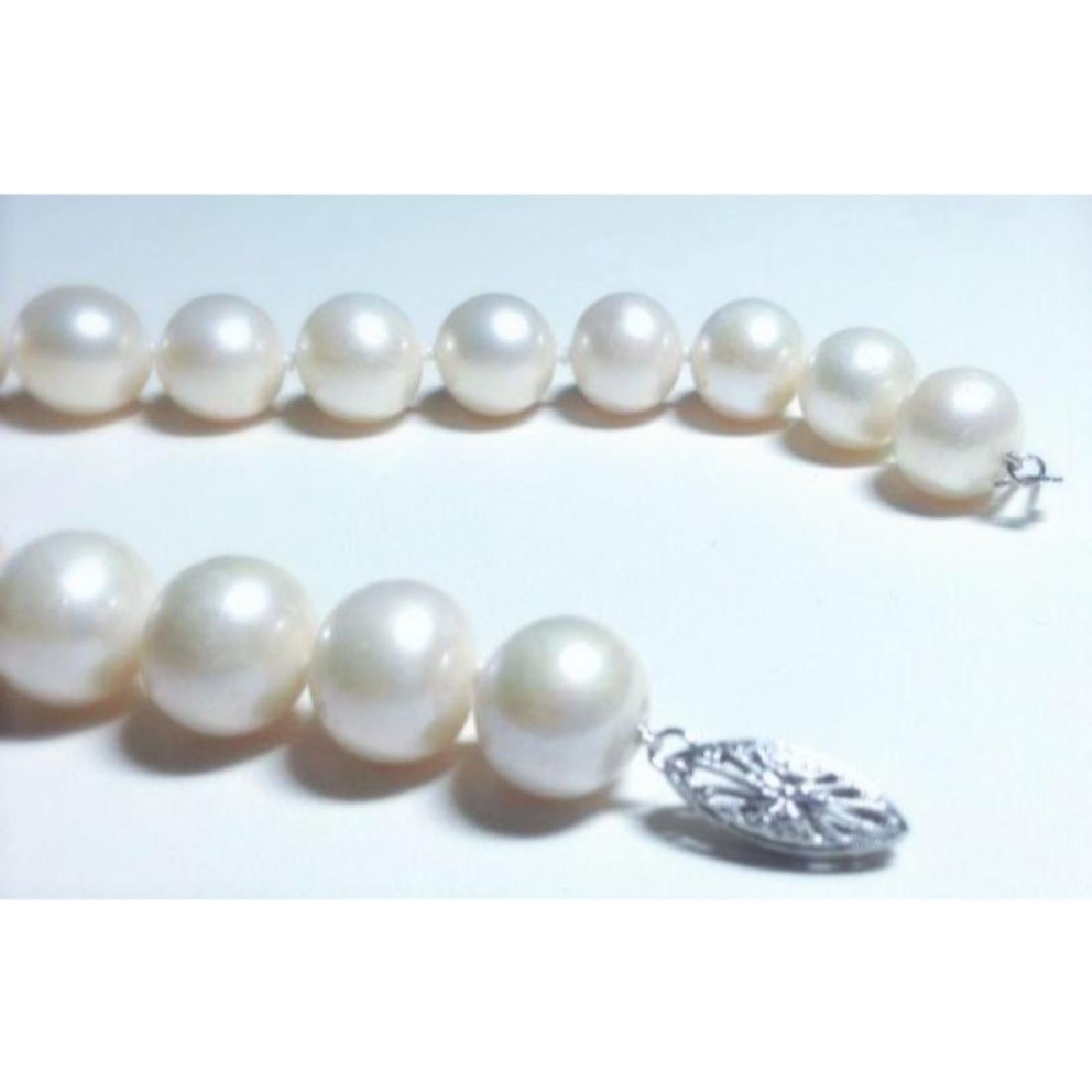 14k White Gold Natural Fresh Water Pearl Necklace - 3