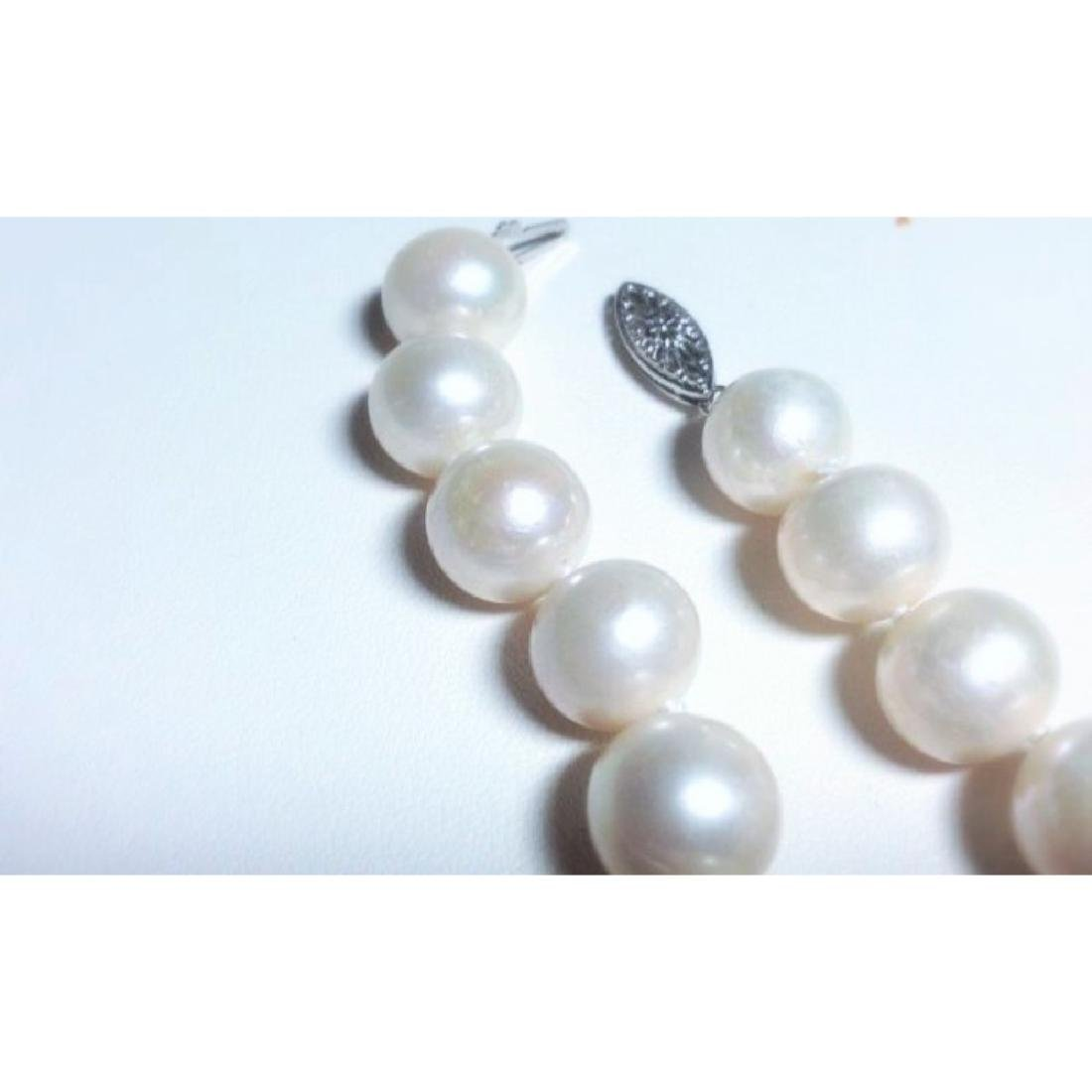 14k White Gold Natural Fresh Water Pearl Necklace - 4