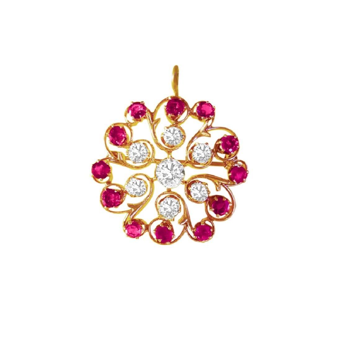 Antique European; 3.70 Ct Diamond and Ruby Pin. (GIA)