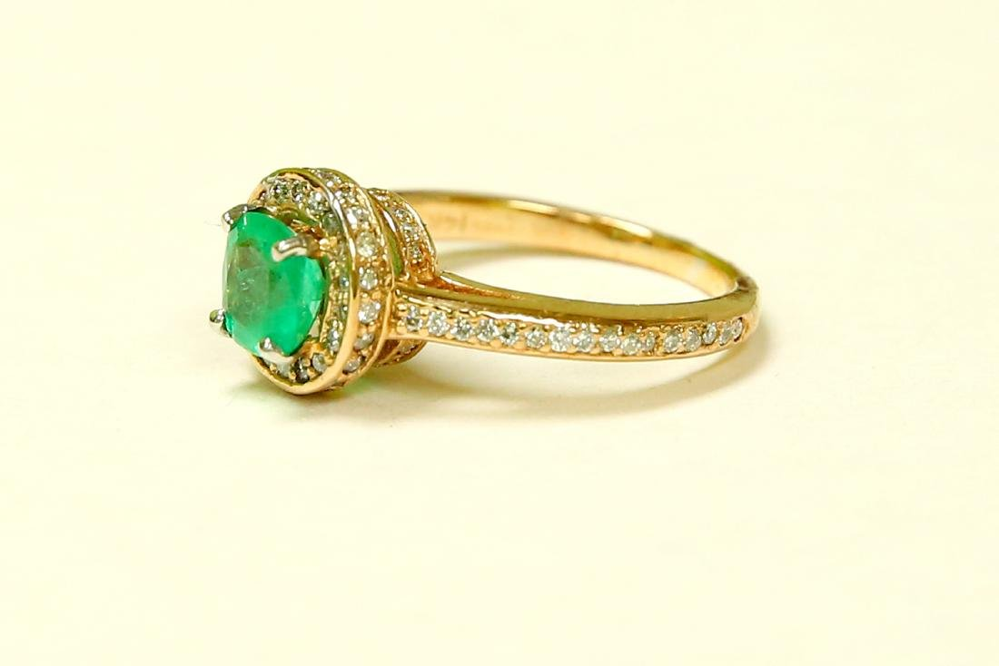 14k Gold Colombian Emerald And Diamond Engagement Ring - 2