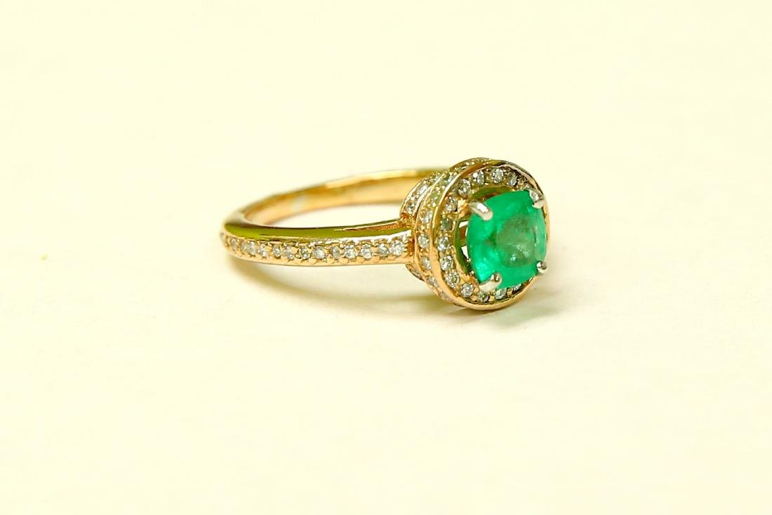 14k Gold Colombian Emerald And Diamond Engagement Ring - 3