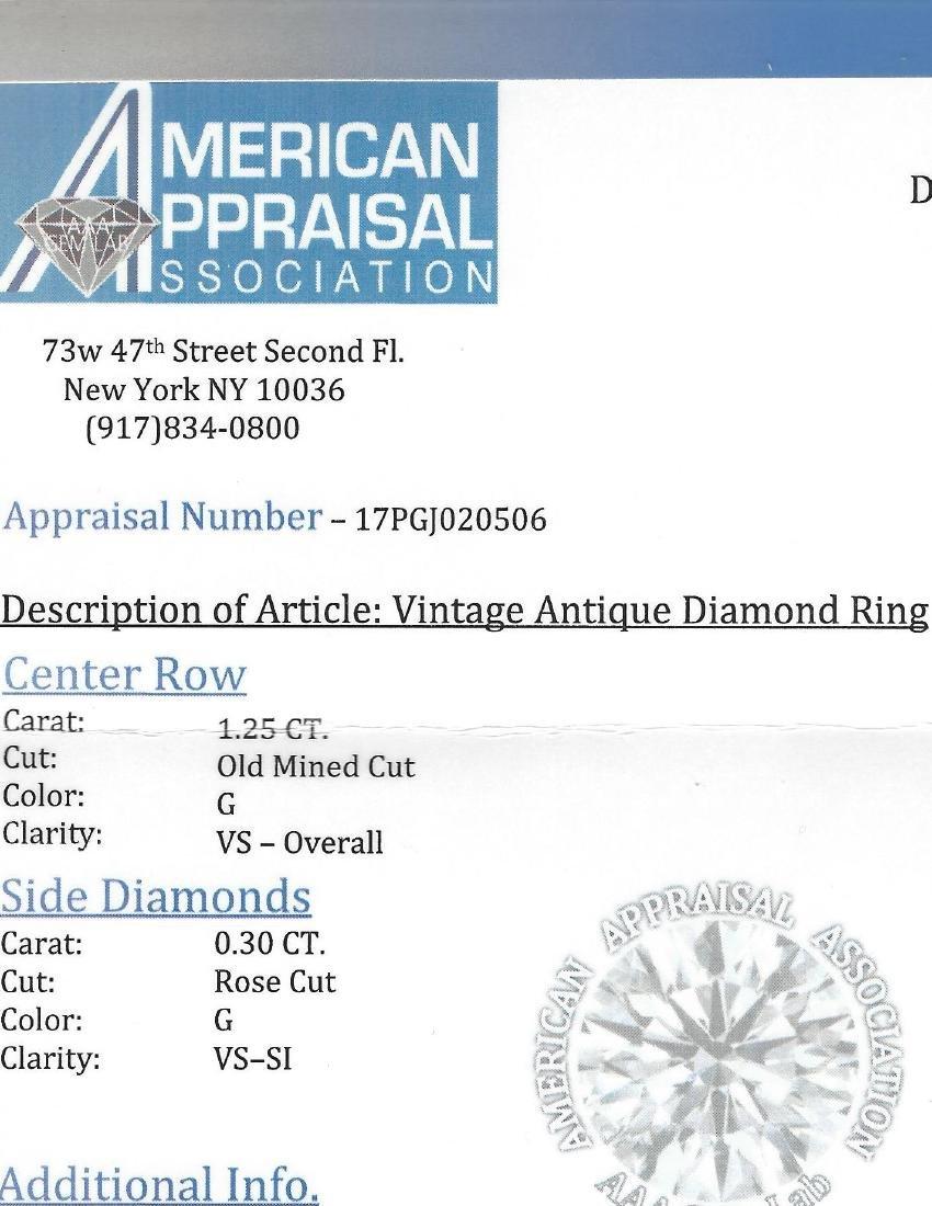 Vintage 18K White Gold, 1.25 CT VS/G Diamond Ring (GIA) - 6
