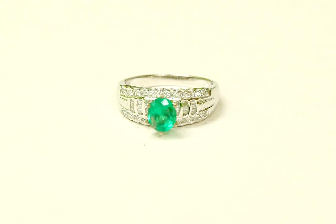 18K GOLD Colombian Emerald & VS Diamond Engagement Ring