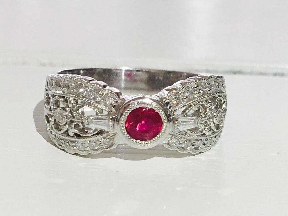 Diamond Platinum and No Heat Ruby Ring