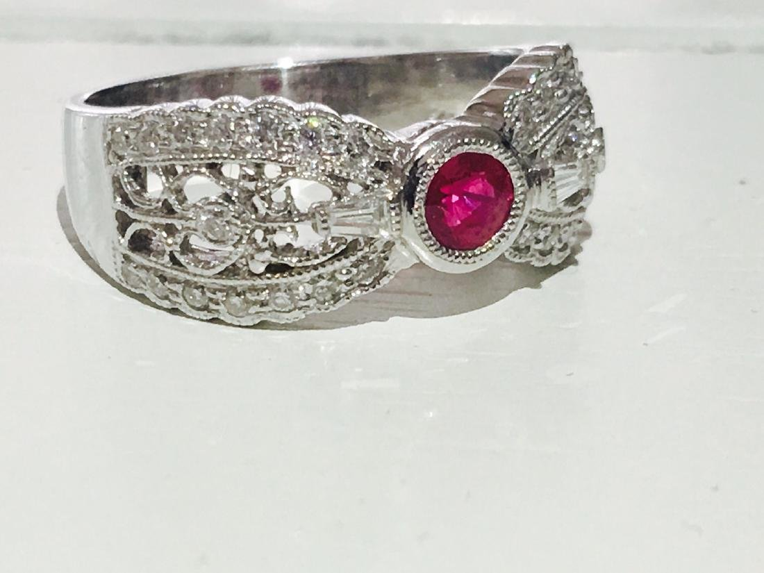 Diamond Platinum and No Heat Ruby Ring - 3